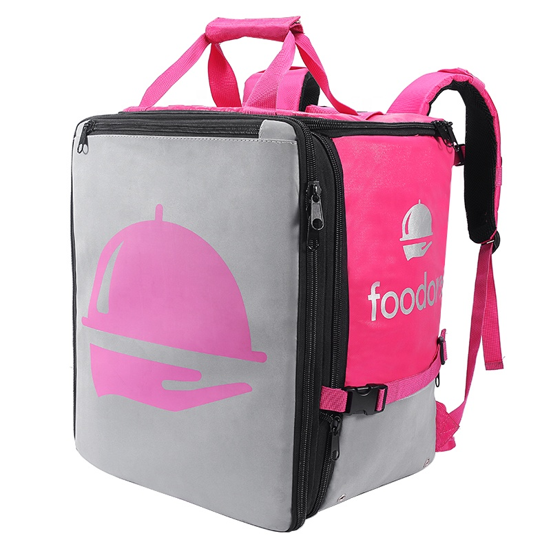 Custom Large Capacity Foldable Insulated Food Backpack Tote Thermal Delivery Bag Bike