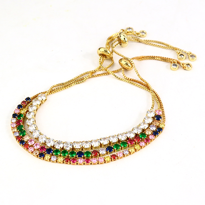 BC1231 Fashion Dainty Minimalist Rainbow <strong>CZ</strong> Diamond <strong>Tennis</strong> <strong>Bracelet</strong> for women girls