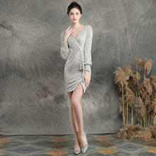 Женское платье с v-образным вырезом It's Yiiya, расшитое блестками мини-платье размера плюс, Vestidos De Gala DX233-1, элегантное платье для выпускного вече...(Китай)