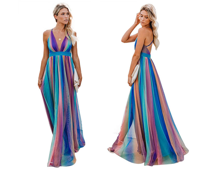 Backless strapless see through striped chiffon long dress for women