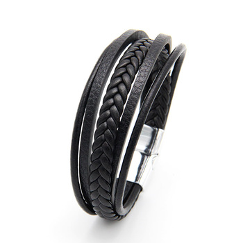 New Enthinic Jewelry Mutilayered Leather Bracelet Bangle Magnetic-Clasp Cowhide Braided Bracelet For Man