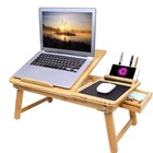Table Laptop Table Laptop Desk SONGMICS Adjustable Bamboo Bed Breakfast Tray Table Computer Laptop Desk With Cushion Cooling Holes And Drawer
