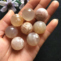 Natural small crystal ball cherry blossom agate quartz crystal ball crystal crafts for birthday gifts