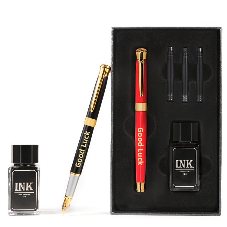 2020 طقم هدايا العمل هدية ترويجية القلم مع مجموعة صناديق فاخرة الخط قلم حبر خرطوشة حبر هدية من المعدن القلم