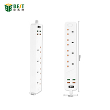 <span class=keywords><strong>BST</strong></span>-03 Power Strip Smart Home <span class=keywords><strong>Elektronica</strong></span> Snel Opladen 4 USB 4 poorten Extension UK powerplug socket met UK Adapter