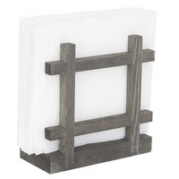 New design vintage weathered gray finish crossed corners napkin holder wood