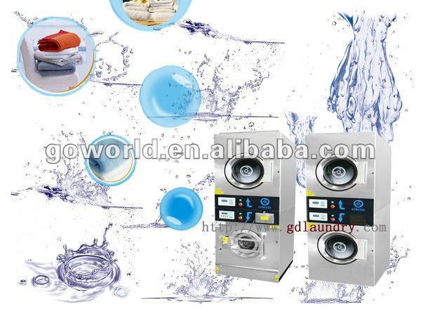 8kg Coin Operated electric heating commercial stack washer dryer