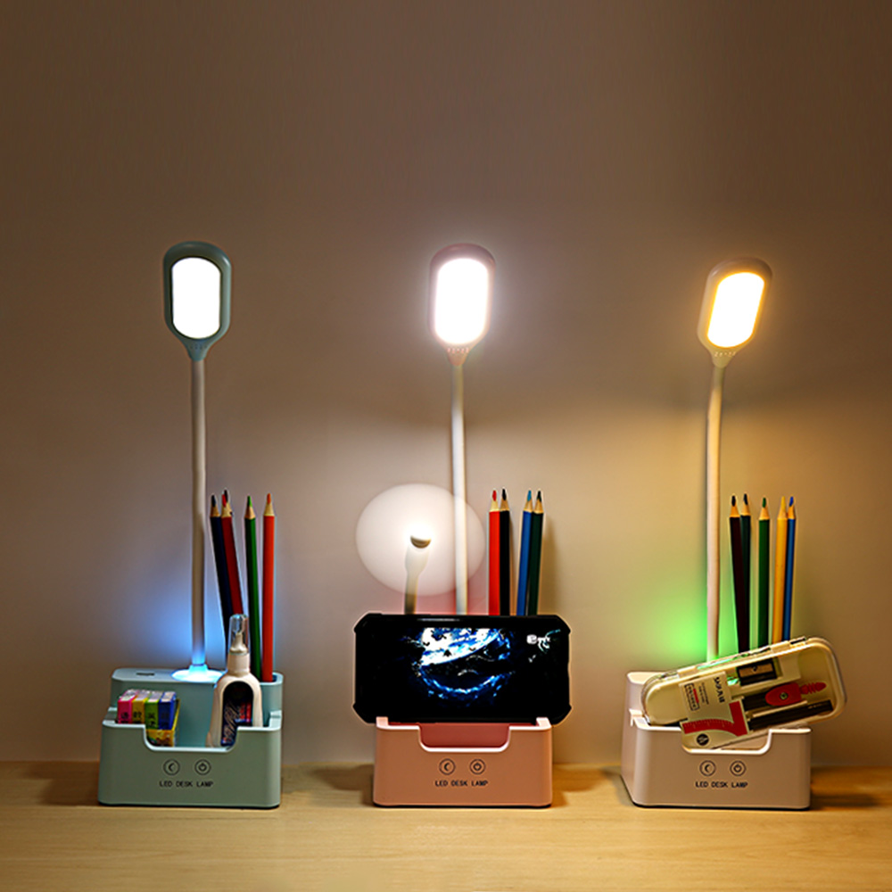 Multifunction Study Lamp with Pen Holder and Mobile Phone Holder Reading Desk LED Table Lamp Flexible
