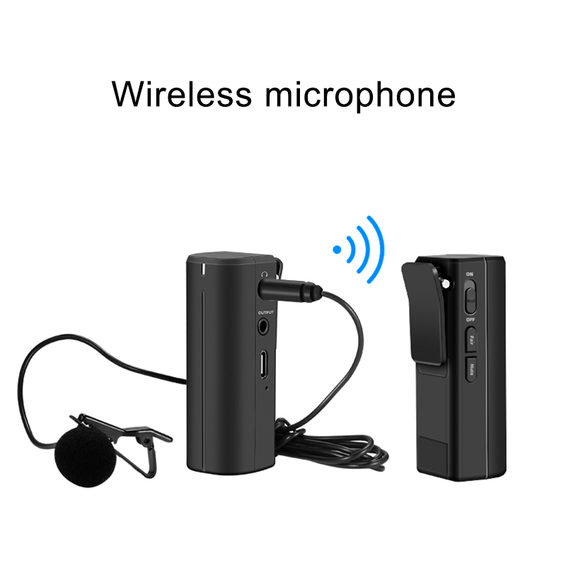 Portable 2.4G wireless microphone system for video camera news interviews metal stereo condenser microphone