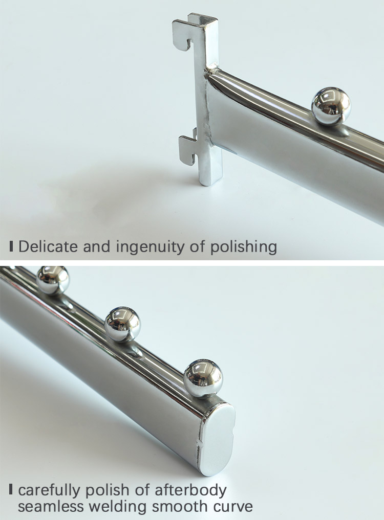 Metal chrome waterfall store display hook with for slotted channel