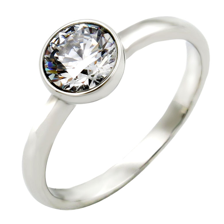 Engagement Wedding Ring zircon Round <strong>Clear</strong> <strong>Crystal</strong> women 925 Sterling Silver Ring