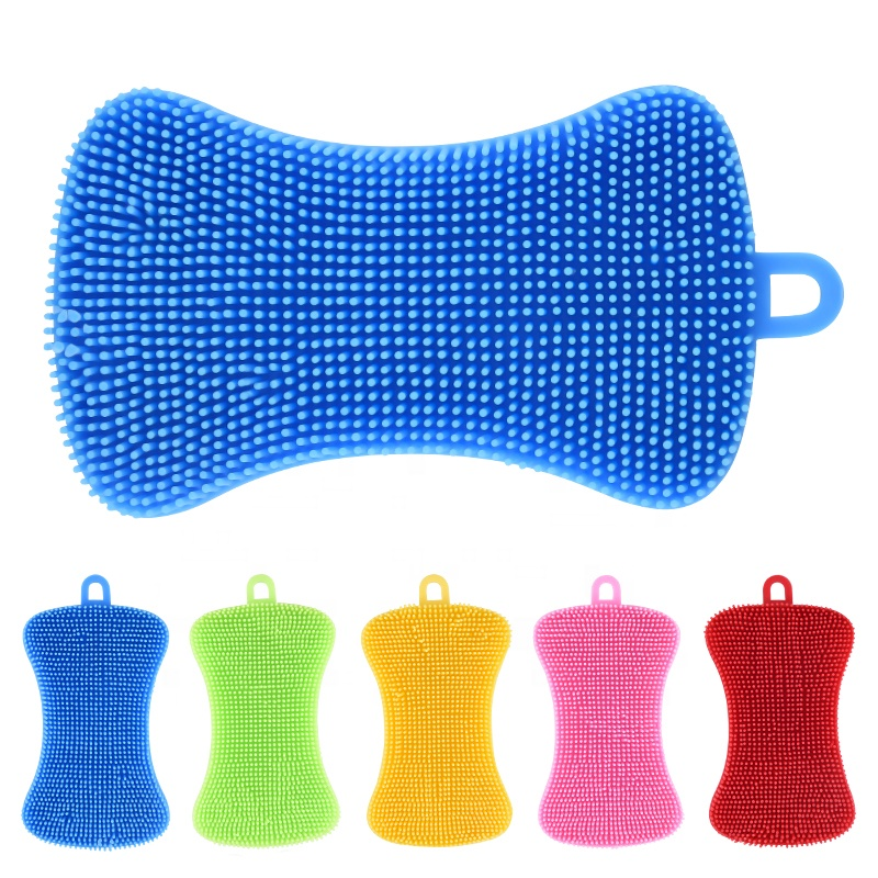 Silicone cleaning scrubber sponge