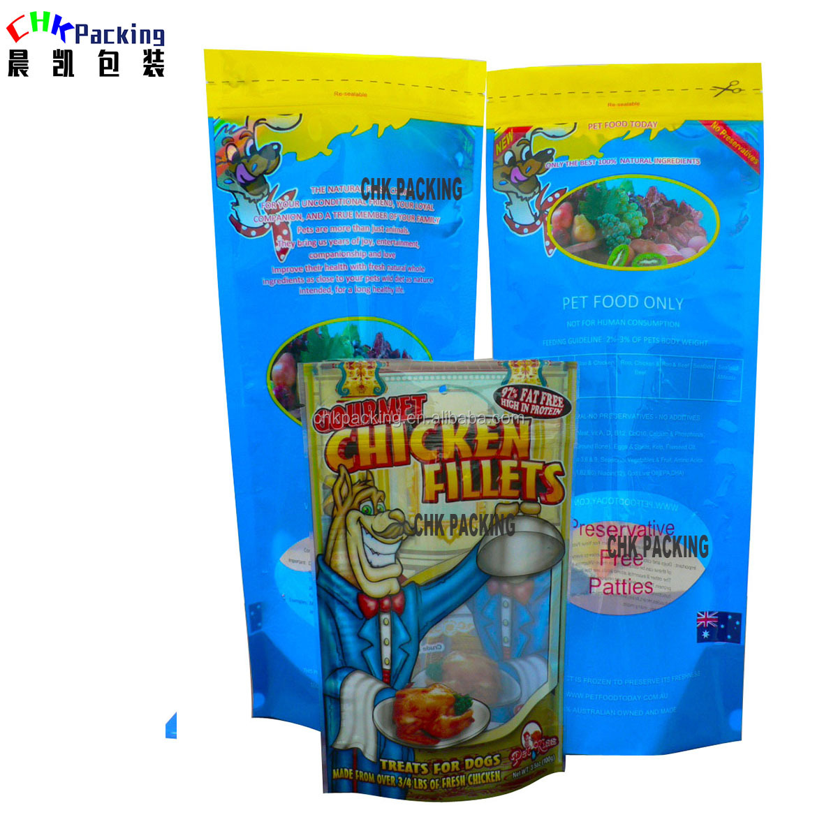 Custom stand up printed frozen dry food  bag for dog food packaging, Animal feed bag