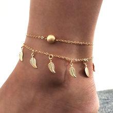 Женский богемный браслет с Луной и цепочкой, винтажный серебристый цвет регулируемый Металлический ножной браслет, пляжные украшения, Нови...(Китай)
