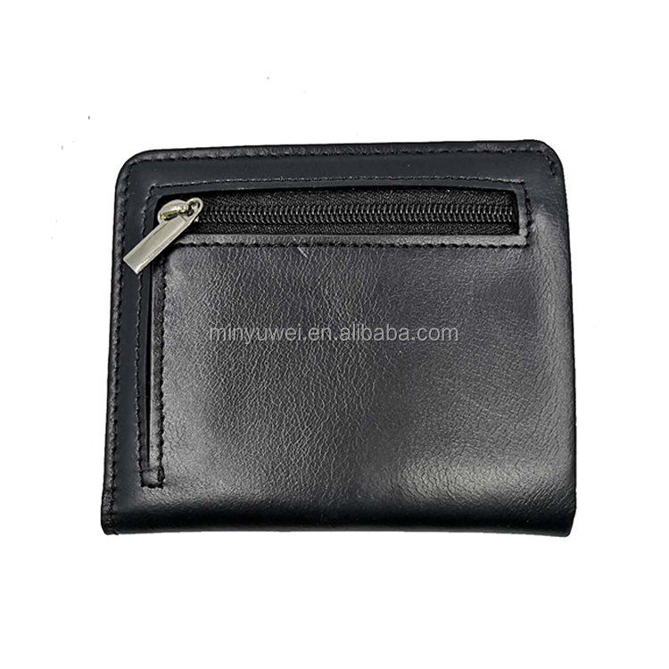 RFID Blocking Minimalist Slim Bifold real leather Men Wallet with zipper coin bag