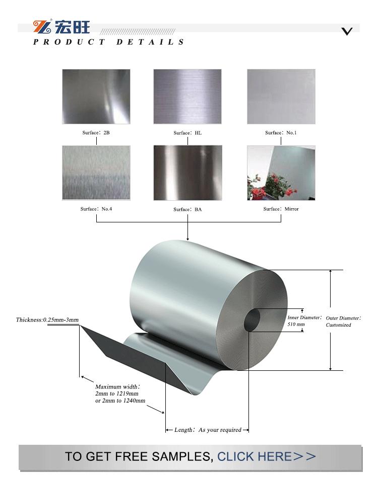 Tamanho personalizado grau 201 202 304 304L 316 316L 410 420 430 bobina de aço inoxidável laminado a quente preço por tonelada made in hongwang