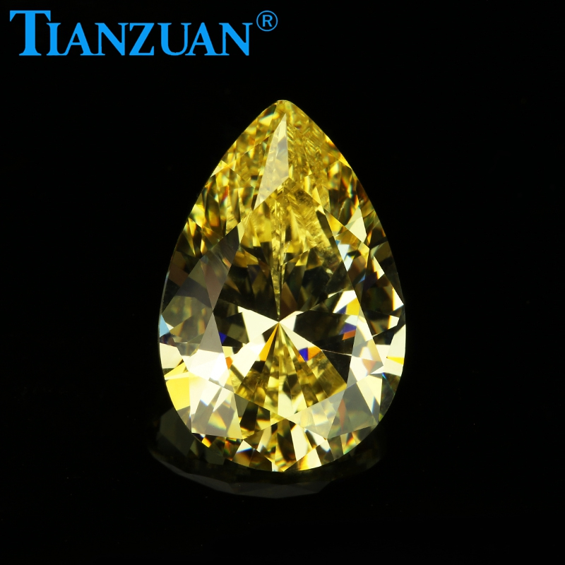5A quality <strong>pear</strong> cut yellow cubic <strong>zirconia</strong> / CZ stones
