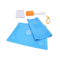 Pastry Rolling Dough Silicone Mat with Measurements, Silicone Spatula,Dough Scraper and Silicone Tie Wrap For Baking Pizza Cake