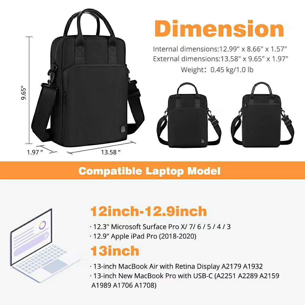WIWU 2021 Top Selling Vertical Double Layer Laptop Sleeve Handbag for 12.9inch 13.3 pro Notebook Tablet i-Pad