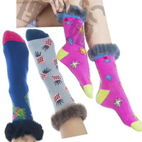 2019 New Colorful Women Cotton Socks With Fur , Christmas Leg Warmer Fur Cuff Boot Socks