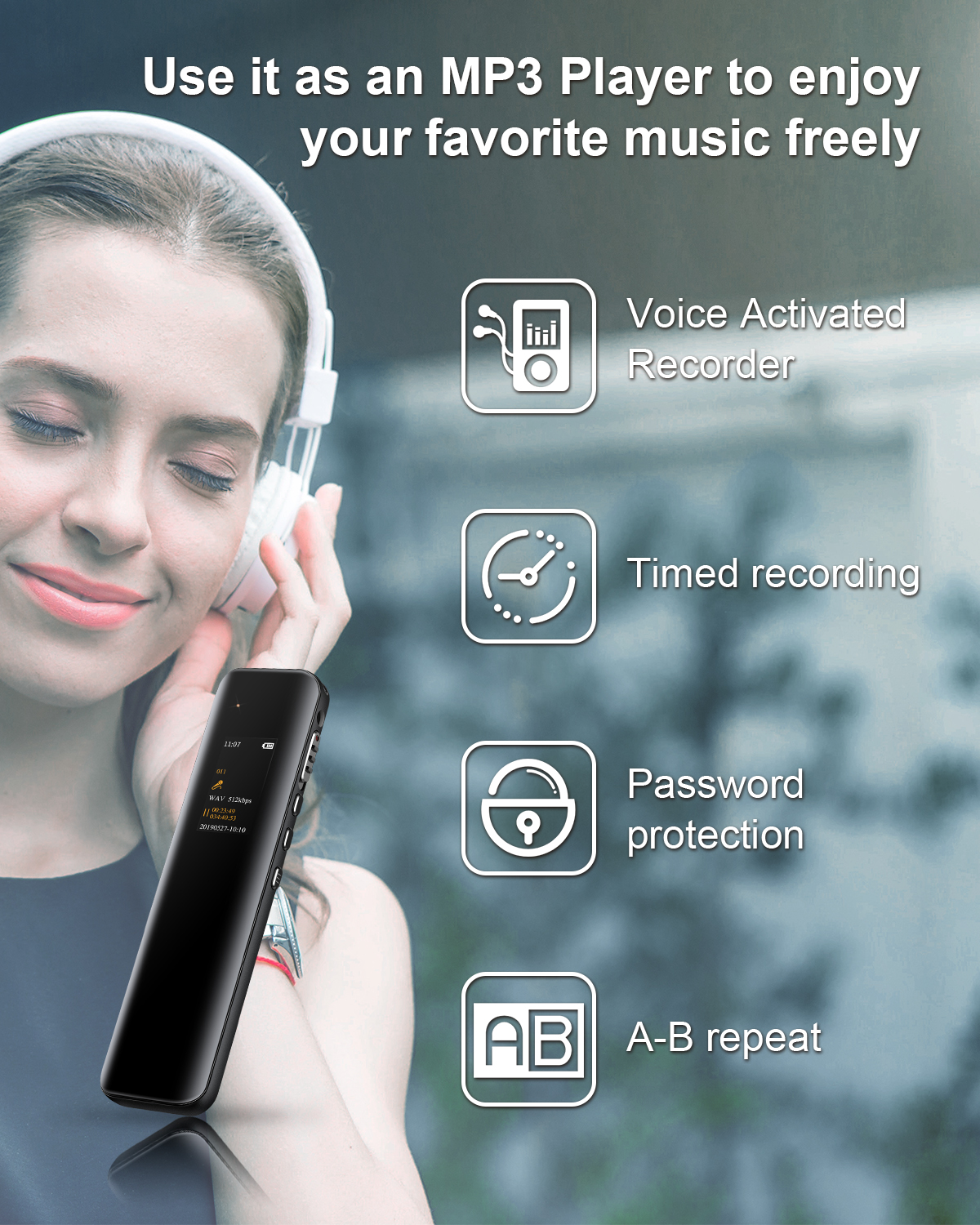 Digital Voice Activated Recorder Dictaphone Long Distance Audio Recording MP3 Player Noise Reduction WAV Record