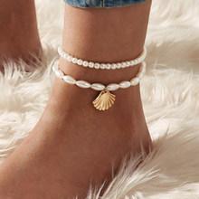 Женский многослойный браслет на ногу IF YOU BOHO, модный браслет с кристаллами и цепочкой в форме сердца, Пляжная бижутерия(Китай)
