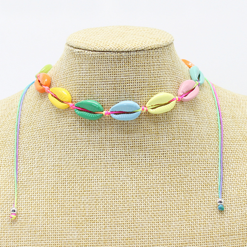 Sea cowrie shell jewelry set colorful shell necklace bracelet set
