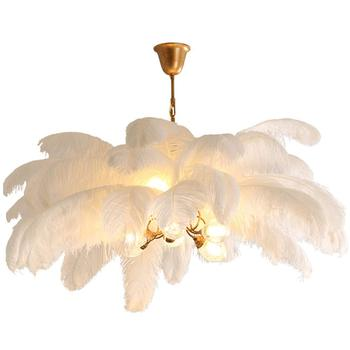 Home Decoration Modern Tree Lights White Decoration Ostrich Feather Chandelier For Hotel