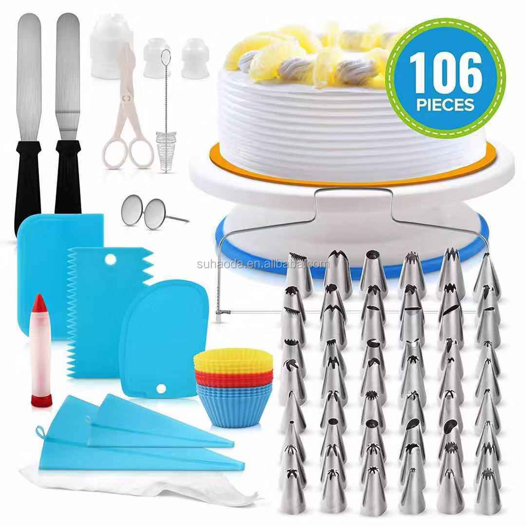 Amazon hot selling taart draaitafel taart tips decorating kit set stand