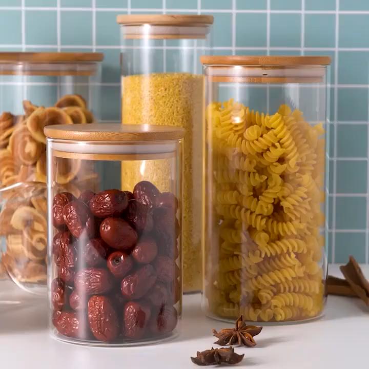 Food Storage Jars  Ball Stopper Handmade Borosilicate Glass Canister Jar