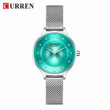 Модные сетчатые женские часы CURREN, женские наручные часы с ремешком, женские ультра-тонкие часы с циферблатом со стразами, Relogio Feminino(Китай)