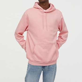 Wholesale Custom logo Printed Blank 100% Cotton plain Hooded Sweatshirt Men Casual Pink Hoodie plus size With Drawstring