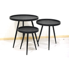 Black Wooden Table Metal Coffee Table New Arrival Black Wooden Top Metal Frame Round Coffee Tray Table