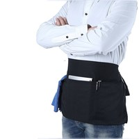 Black Cotton Cooking Waist Apron For Adult Half Apron With Pockets