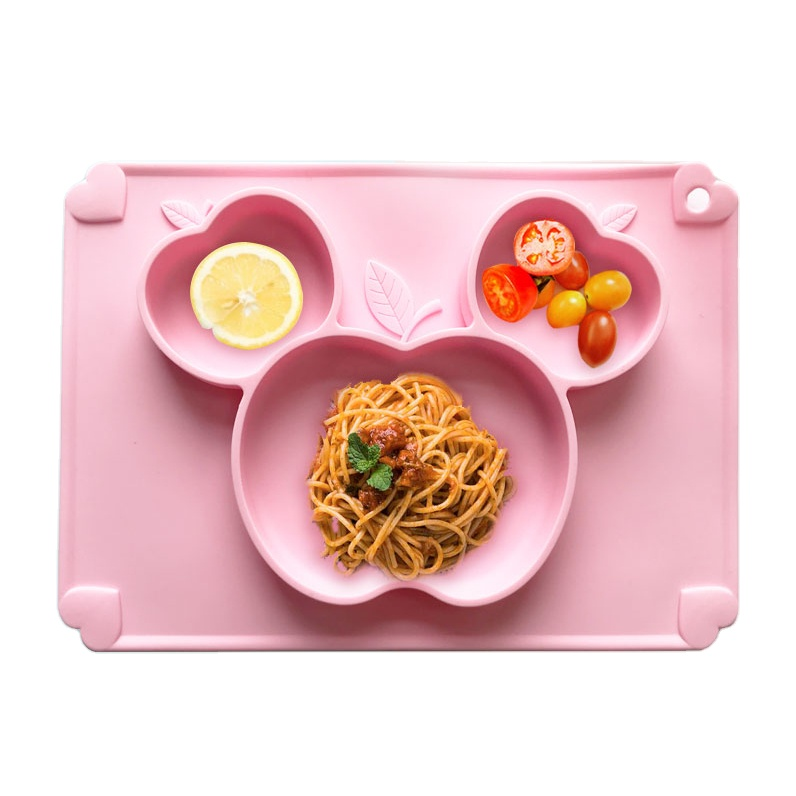 Amazon Hot BPA Free Kids Bowl Reusable Non-slip Silicone Dinner Placemat Easy Cleaning Silicone Baby Plate