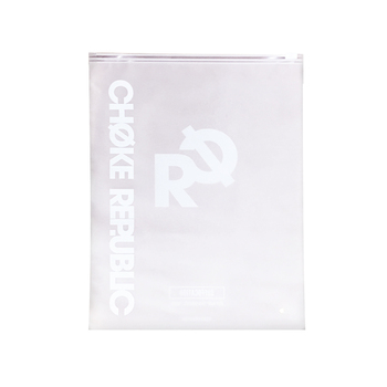 High quality customized printing transparent white clothing packaging bags with sliding zipper