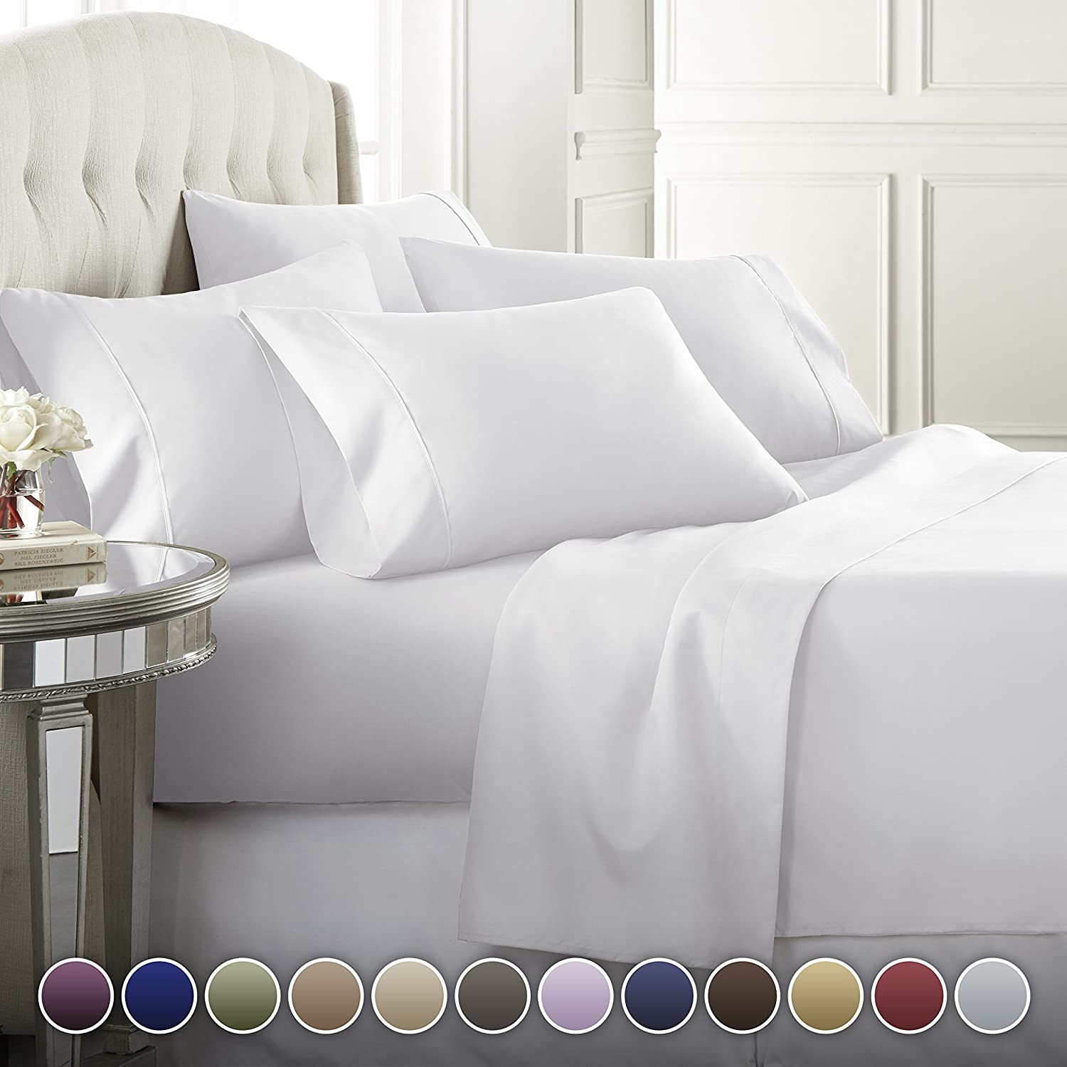 Hotel textile Luxury 1800 count deep pocket 4 piece bed sheet <strong>set</strong>