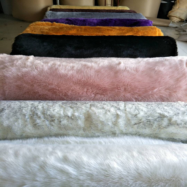 Hot sale long pile faux sheepskin fabric used for faux fur clothes and carpets