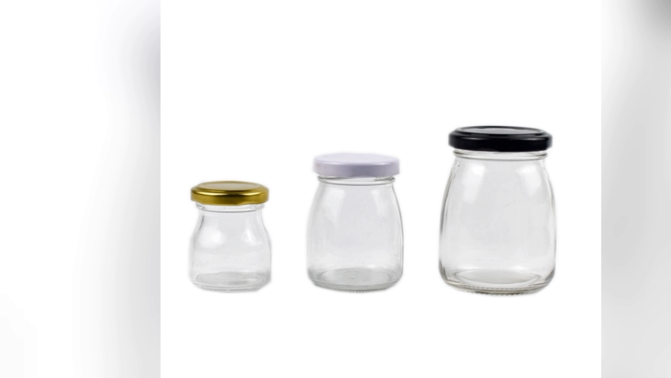 حار بيع مخصص تصميم زجاجة بودنغ زجاج مرطبان زجاجي صغير