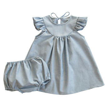 Bulk wholesale kids clothing girls new design flutter hem dress style top with bloomer sets