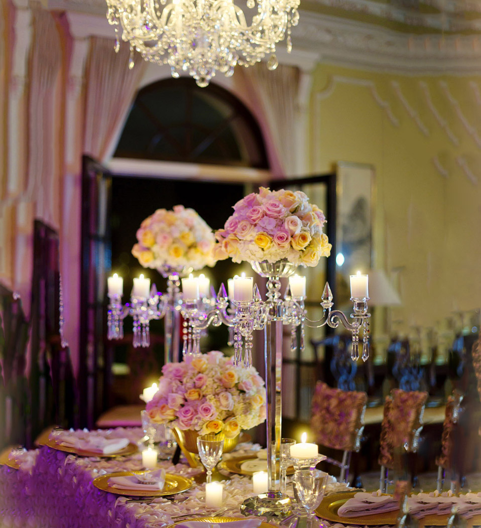 MH-ZT0033 wedding decoration 5 arms with flower bowl Tall crystal candelabra wedding candlestick table top centerpieces