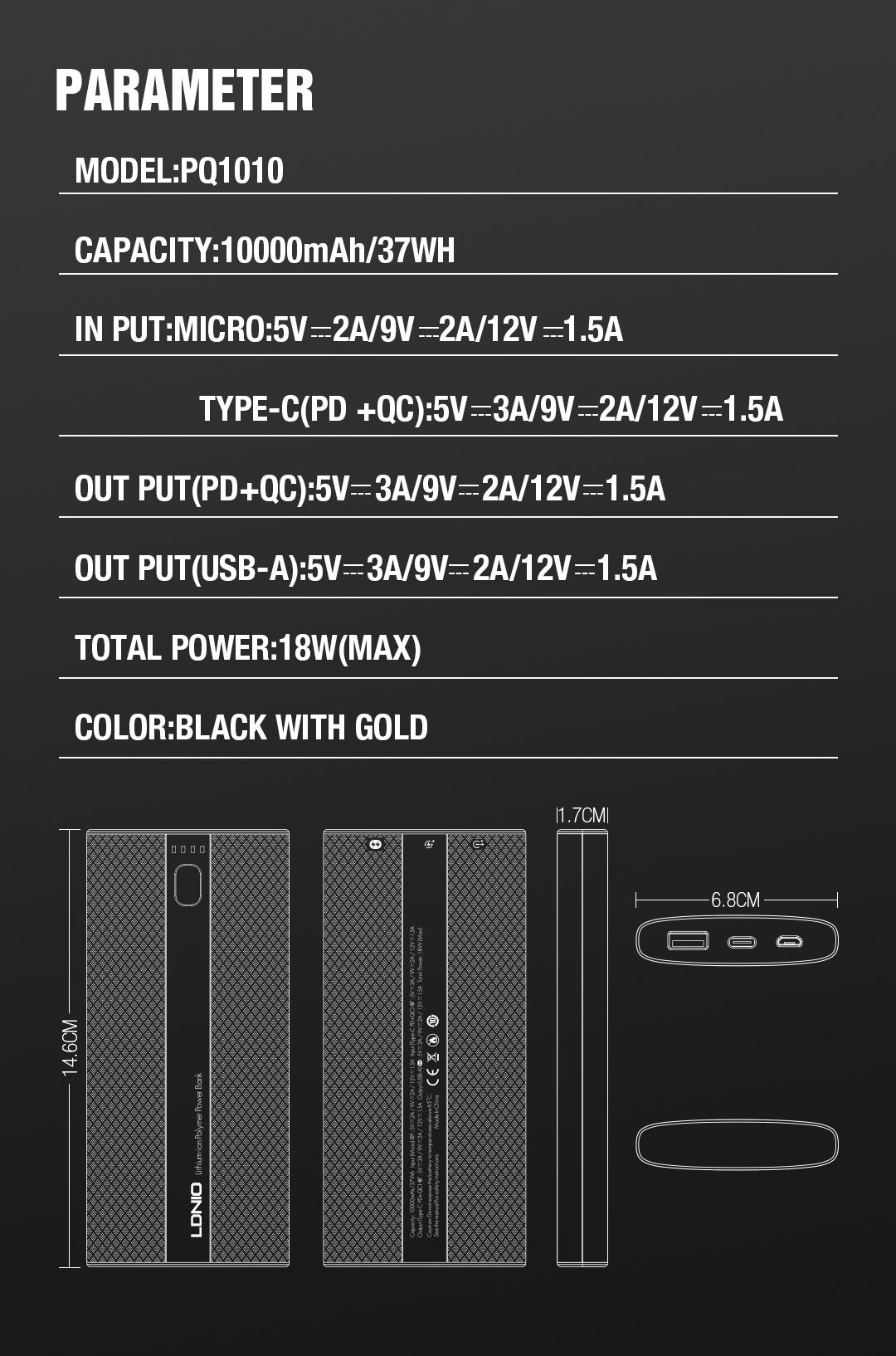 LDNIO PQ1010 10000mAh banco de potencia con la Policía de Puerto + QC3.0 Super rápido de la estación de carga para teléfono móvil y cámara
