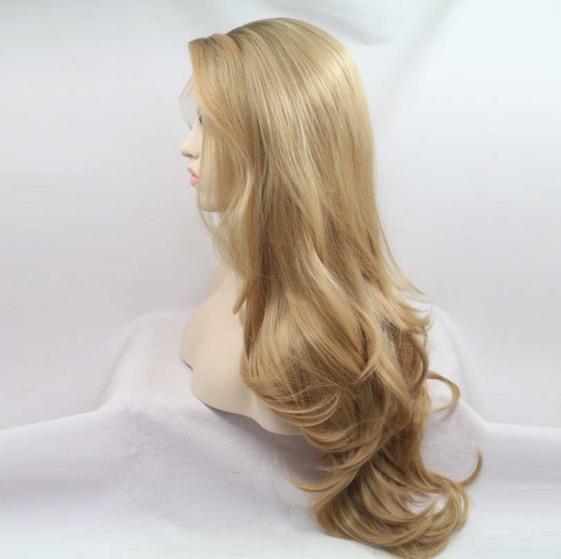Side Part <strong>Lace</strong> Front ombre blonde <strong>Wig</strong> 22 Inch Long Wavy <strong>Synthetic</strong> <strong>Wigs</strong> <strong>Full</strong> <strong>Lace</strong> Frontal <strong>Wigs</strong> 2 Colors Choice Free Shipping