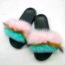 Новые летние пушистые тапочки из натурального лисьего меха, женские шлепанцы из лисьего меха, удобные разноцветные пушистые сандалии с мех...(Китай)