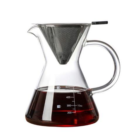 Портативная кофейная машина, ручная капельная стеклянная кофеварка, фильтр из нержавеющей стали, кофейник, чайник, инструменты, термостойк...(Китай)