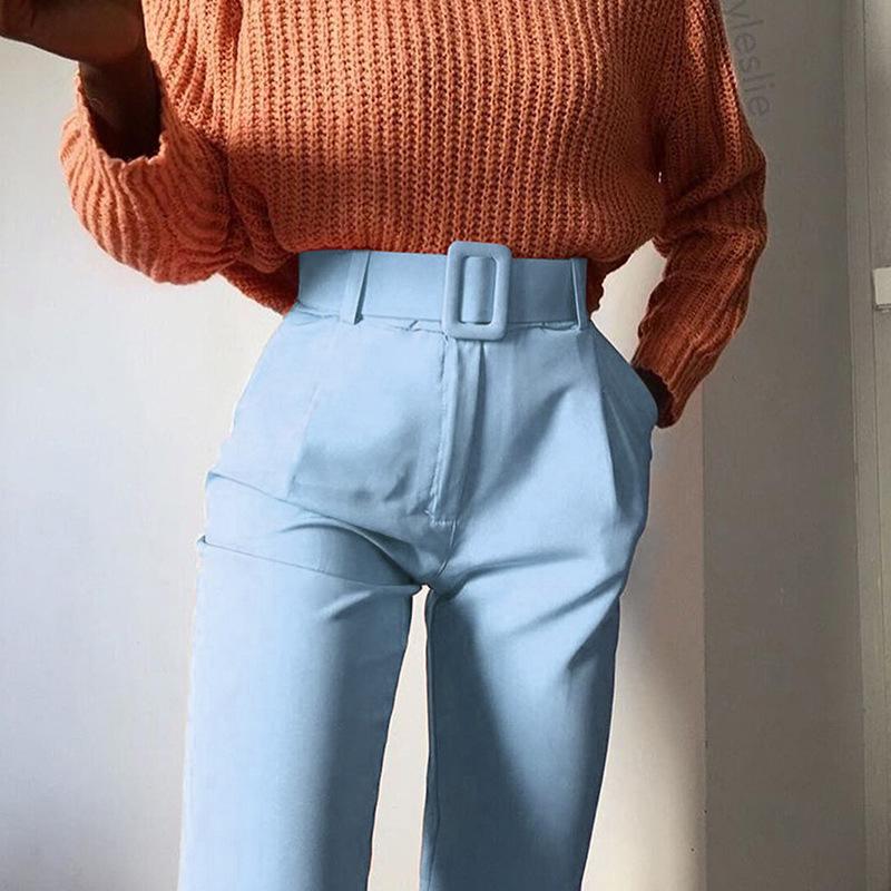 Pantalones De Cintura Alta Para Mujer Con Cinturon Liso A La Moda Venta Al Por Mayor En 4 Colores Buy De Moda De Las Mujeres Pantalones Mujer Pantalones De Talle Alto De Ocio Pantalones Product On