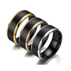 Factory Wholesale 8mm Fashion Black Gold Tungsten Titanium Steel Ring for Men