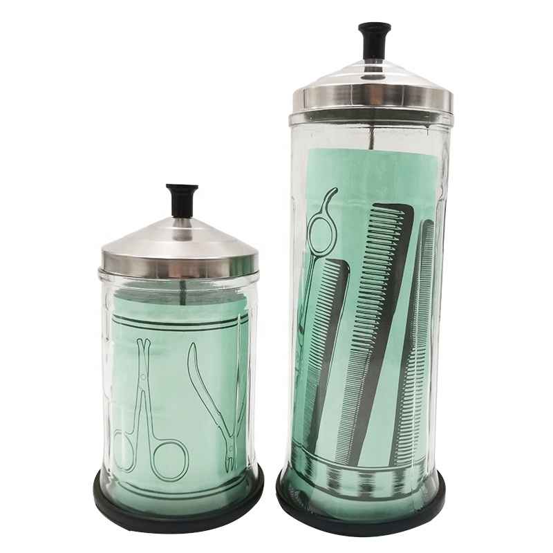 Hot Sale Sanitizing Manicure Jar Perfect For Salons & Barbers  Glass  Disinfecting  Jar