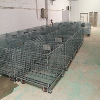 Collapsible Wire Mesh Pallets Metal Foldable Cage With 500KG Capacity