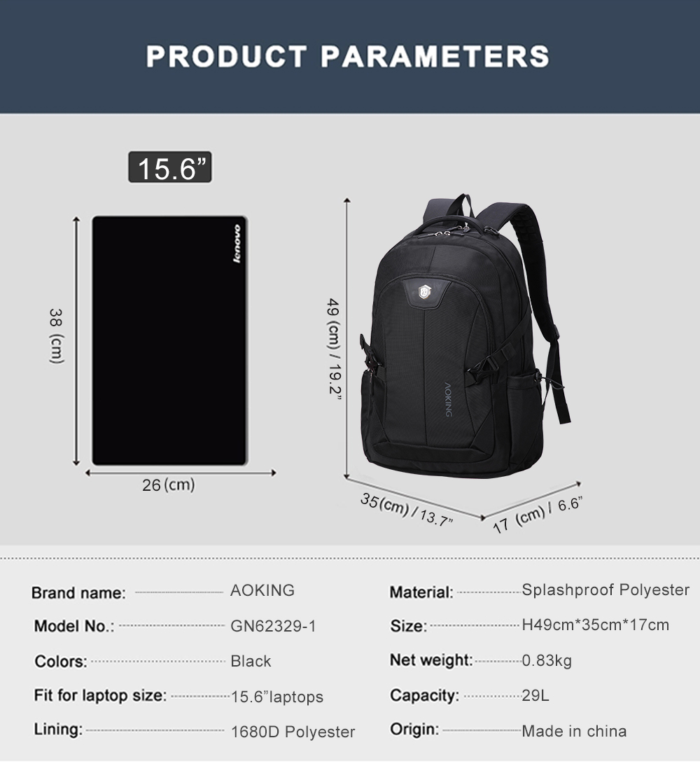 China Supplier OEM ODM 15.6 Inch Durable Large Capacity Outdoor Travel Waterproof Wholesale Laptop Backpack Bag